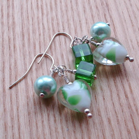 Apple Green Heart Cluster Earrings