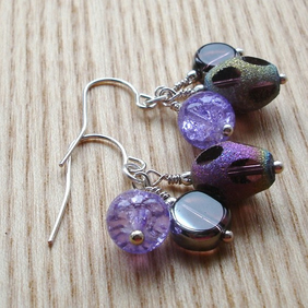 Purple Sparkle Cluster Earrings