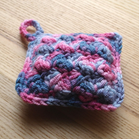 Crochet Pin Cushion in Blue and Pink