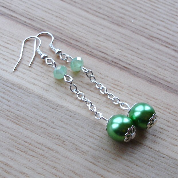 Green Glass Faux Pearl Drop Earrings