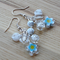 White Flower Glass Bead Cluster Earrings