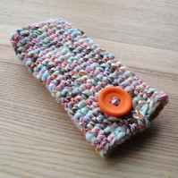 Crochet Mobile Phone Cozy with Button in Candy Colours