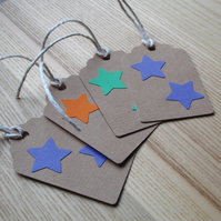 Purple Orange and Green Stars Gift Tags (Pack of 4)