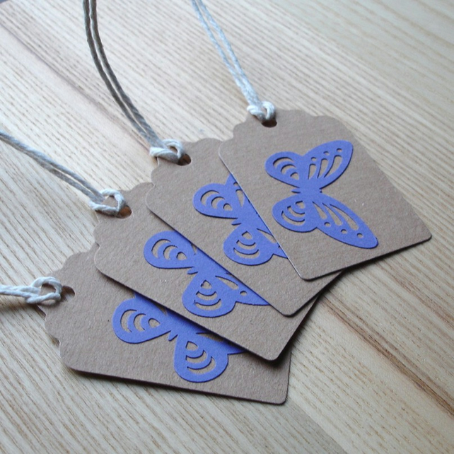 Purple Butterfly Gift Tags (Pack of 4)