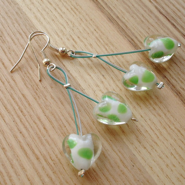 Cherry Drop Style Green Heart Bead Earrings