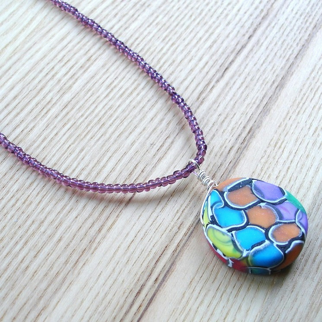 Funky Rainbow FIMO Polymer Clay Pendant