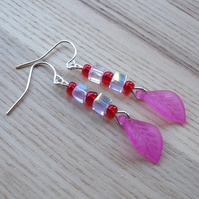 Pink Lucite Leaf Earrings