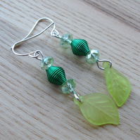 Green Lucite Leaf Earrings