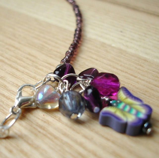 Purple Bead Cluster Anklet