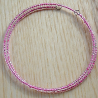 Pink Glass Seed Bead Spiral Bracelet