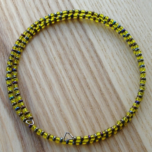 Yellow and Graphite Glass Seed Bead Spiral Bracelet