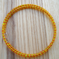 Orange and Yellow Glass Seed Bead Spiral Bracelet
