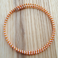 Orange and Peach Glass Seed Bead Spiral Bracelet