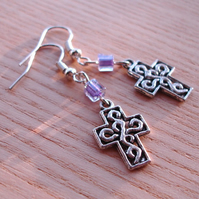 Cross Charm Earrings with Purple Bead
