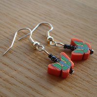 Orange Butterfly FIMO Polymer Clay Earrings