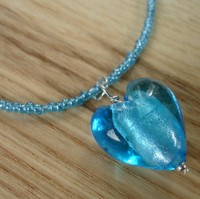 Turquoise Heart Glass Pendant