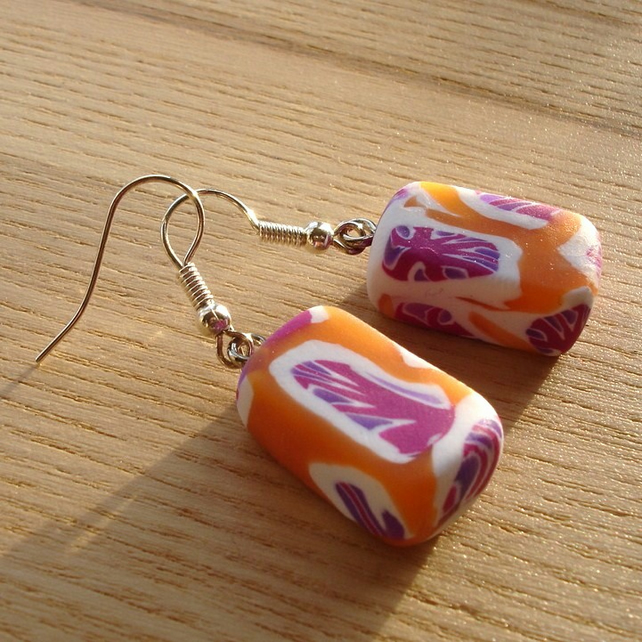 Orange and Purple FIMO Polymer Clay Earrings