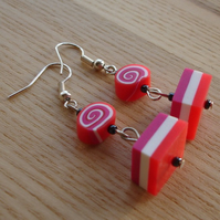 Red and Purple FIMO Polymer Clay Earrings