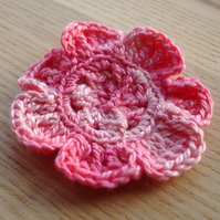 Crochetted Pink Flower Brooch