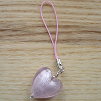 Pink Lampwork Glass Heart Planner Charm