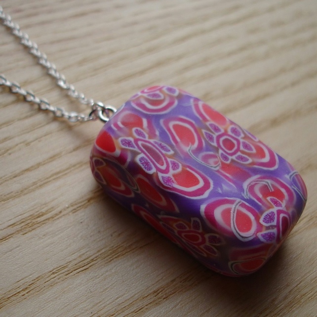 Chunky Millefiori Polymer Clay Pendant