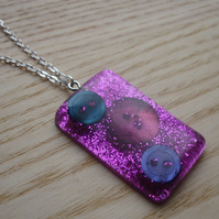Sparkle Pink Resin and Button Pendant