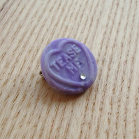 Tease Me Purple Love Heart Badge