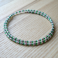 Green and Purple Glass Seed Bead Spiral Bracelet