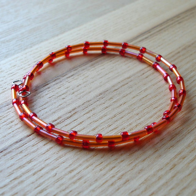 Orange and Red Glass Seed Bead Spiral Bracelet