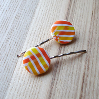 Citrus Stripe Bobbie Pin Hair Slides