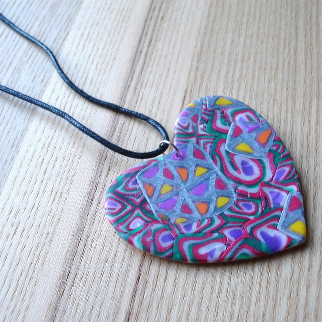 Huge Funky Heart FIMO Polymer Clay Pendant