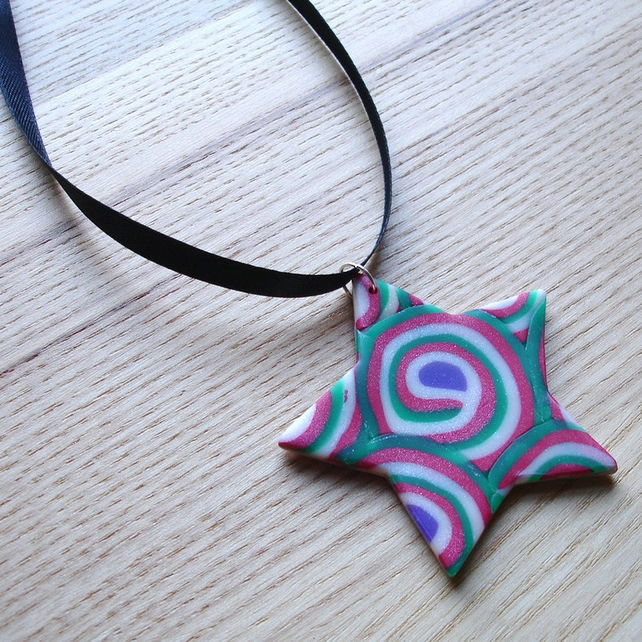 Red and Green Star FIMO Polymer Clay Pendant