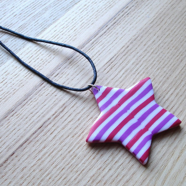 Raspberry Stripe Star FIMO Polymer Clay Pendant