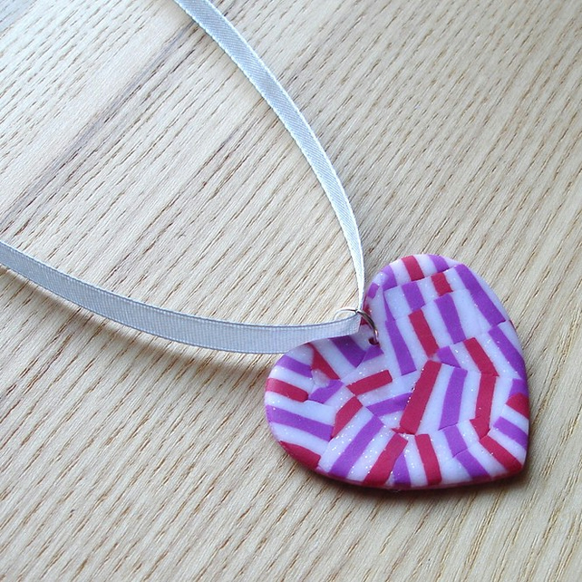 Raspberry Shimmer Heart FIMO Polymer Clay Pendant
