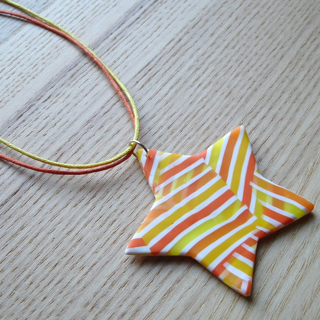 Citrus Stripe Star FIMO Polymer Clay Pendant