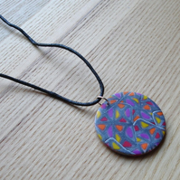 Silver Windows Disc FIMO Polymer Clay Pendant