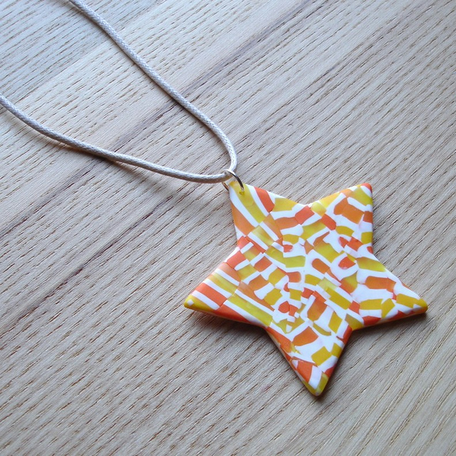 Citrus Fizz Star FIMO Polymer Clay Pendant