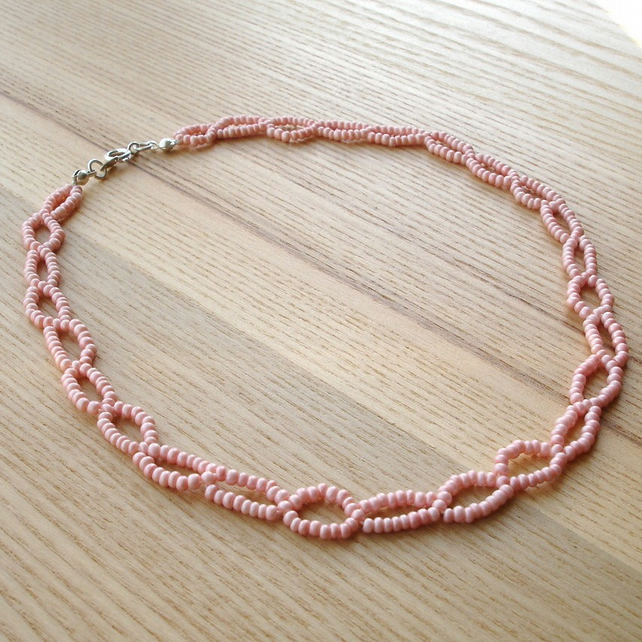 Pink Loop Woven Bead Necklace
