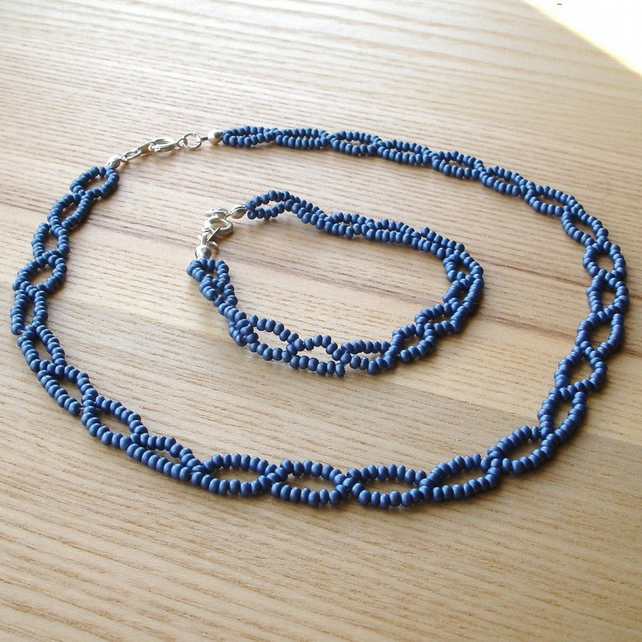 Blue Loop Woven Bead Necklace and Bracelet Set