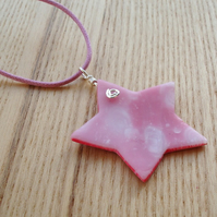 Pink Swirl Star Polymer Clay Pendant