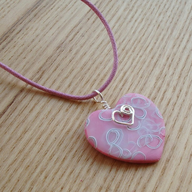 Pink Swirl Heart Polymer Clay Pendant