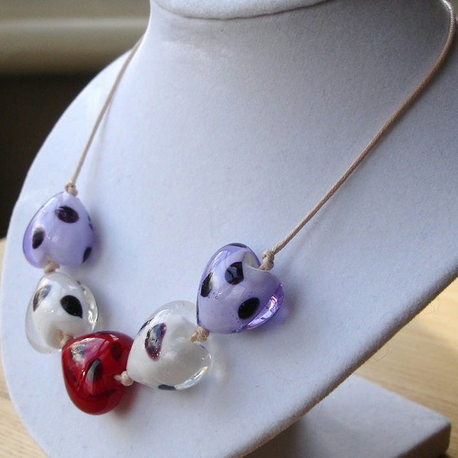 Lampwork Hearts Necklace