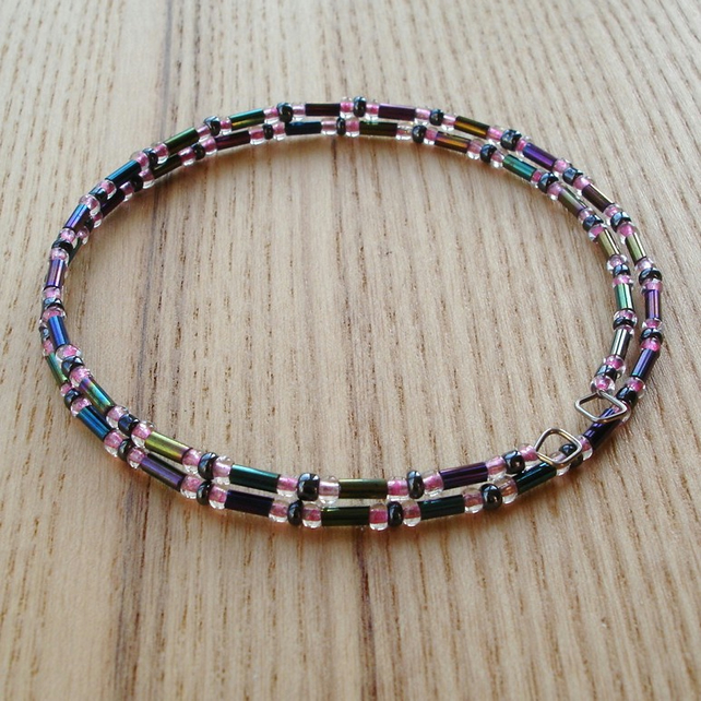 Graphite and Pink Glass Seed Bead Spiral Bracelet