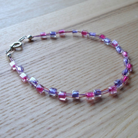 Pink and Purple Floating Bracelet