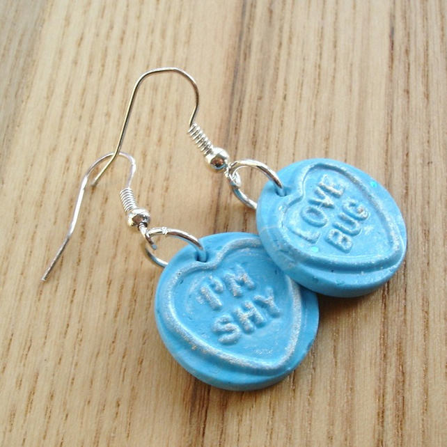 Sky Blue Coloured Love Heart Earrings