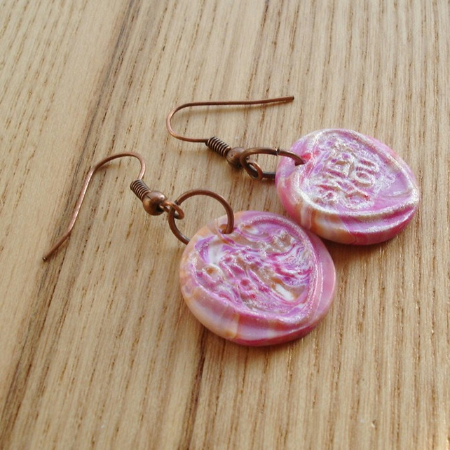Marbled Candy Coloured Love Heart Earrings