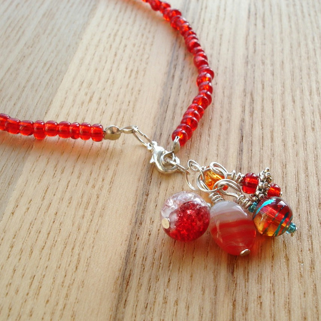 Red Bead Cluster Anklet