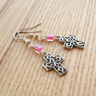 Cross Charm Earrings with Pink Glass Beads