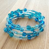 Seas of Blue Glass Bead Spiral Bracelet