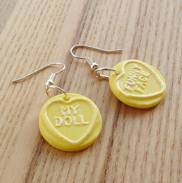 Sherbet Lemon Coloured Love Heart Earrings